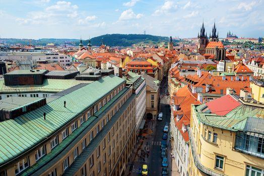 Prague street from above