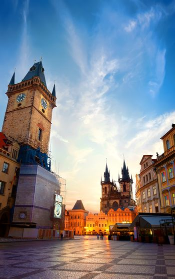 Prague chimes and Tynsky temple