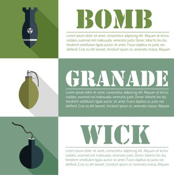 flat military explosive weapons set design concept. Vector illustration infographic