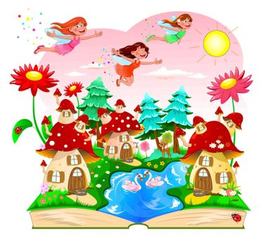 Joyful fairies flying in the sky above the mushroom houses. Landscape with mushroom houses, a river, forest and flowers. An open book with a cartoon landscape.