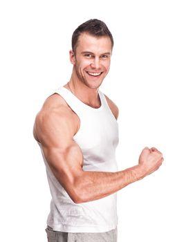 muscular handsome man posing in studio