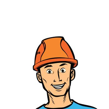 joyful man professional in a helmet