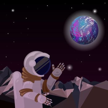 An astronaut on a distant planet. Distant world in space.