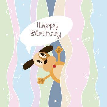 Happy birthday greeting card with funny cartoon doggy