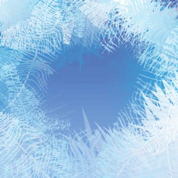 Winter frosted window background. Freeze and wind at the glass.