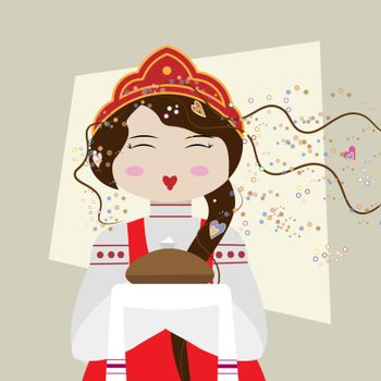Russian girl in traditional suit with bread and salt. Slavic girl welcomes