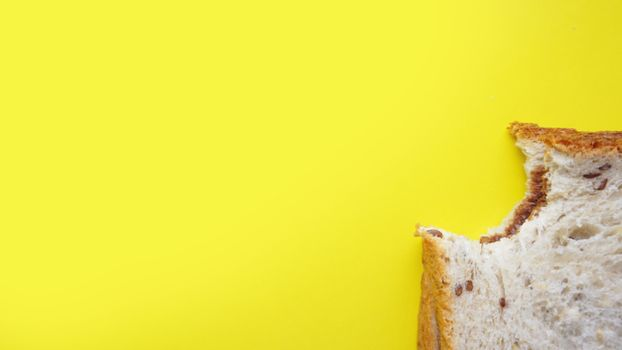 Bitten Toast on yellow background. View from above - Copy space photography
