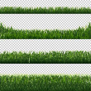 Green Grass Borders Set Transparent Background