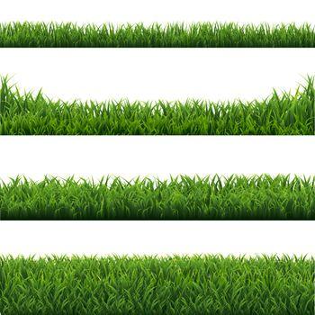 Green Grass Borders Set White Background