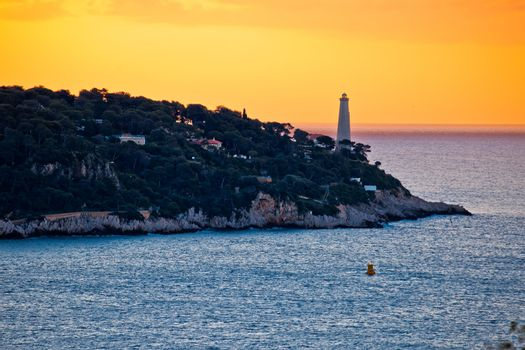 Cap Ferrat peninsula and lighthouse sunrise view, amazing scenery of French riviera, Alpes Maritimes department of France
