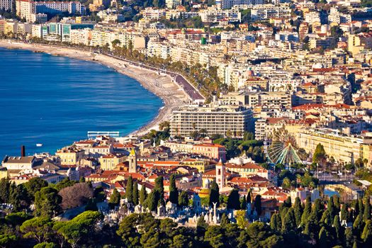 City of Nice and Promenade des Anglais waterfront aerial view, French riviera, Alpes Maritimes department of France