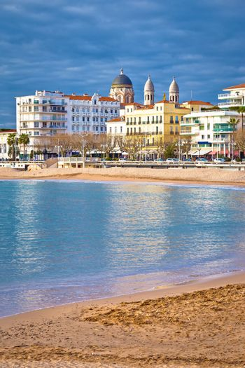 Saint Raphael beach and waterfront view, famous tourist destination of French riviera, Alpes Maritimes region of France