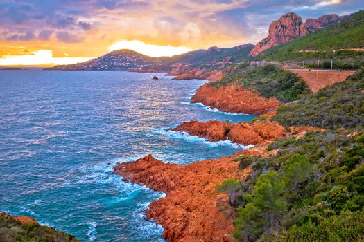 Franch riviera scenic coastline sunset view, mediterranean sea near Cannes, Cote d'Azur, Provence, Alpes-Maritimes department of France
