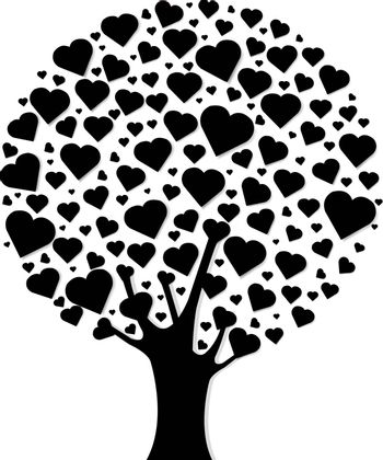 Black Wood With Hearts, Vector Illustration