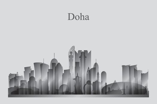 Doha city skyline silhouette in grayscale