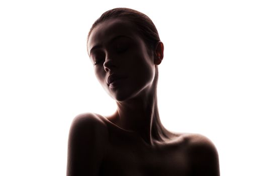 silhouette of beautiful young woman