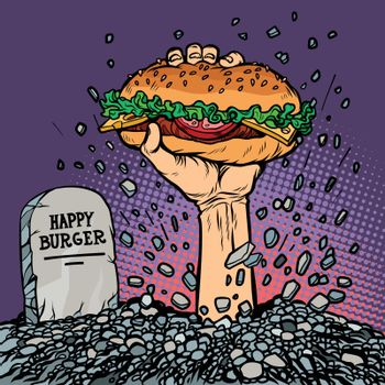 happy Burger. fast food zombie in the grave