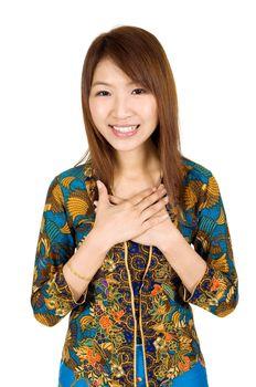 Southeast Asian woman greeting