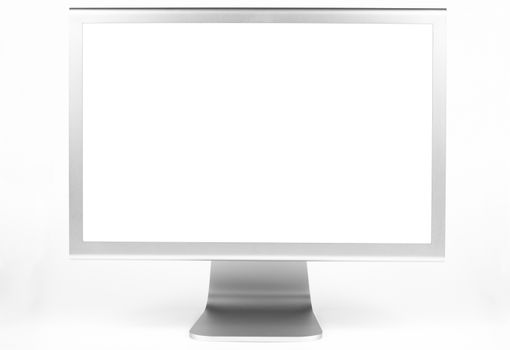 Silver computer monitor front view wth white screen isolated on white
