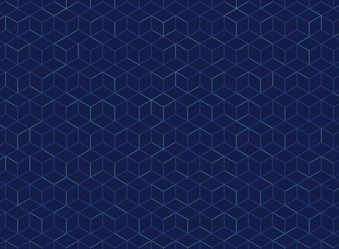 Abstract cube pattern on dark blue background. Digital geometric lines square mesh. Vector illustration