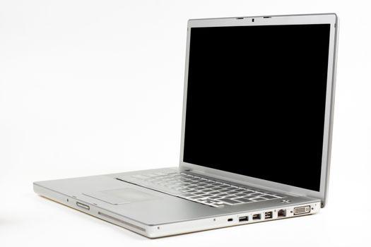 silver laptop side view with black screen isolated on white background