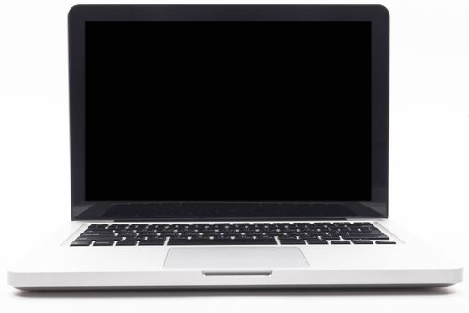 Silver laptop with blank black screen isolated on white background