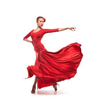 woman dancer wearing red dress