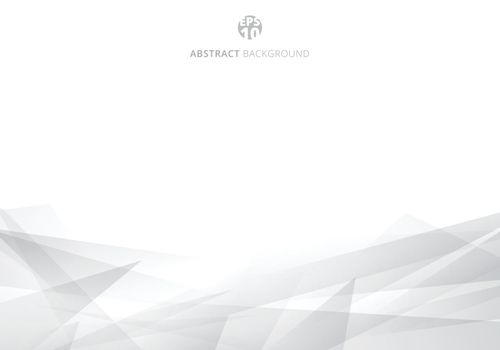 Abstract white and gray polygonal header background with copy space. Geometric template for brochure, cover, card design, banner web, poster. Vector illustration