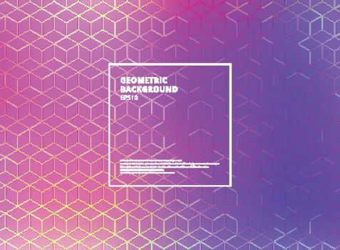 Abstract cube pattern on blue and purple gradients background. Digital geometric lines square mesh. Vector illustration