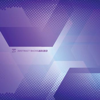 Abstract geometric hexagons overlapping with halftone white and