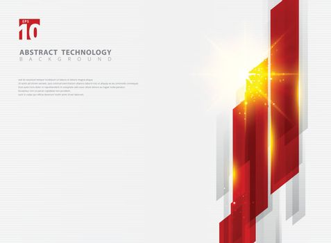 Abstract technology geometric red color shiny motion background with lighting effect. Template with header and footer for brochure, print, ad, magazine, poster, website, magazine, leaflet, annual report. Vector corporate design