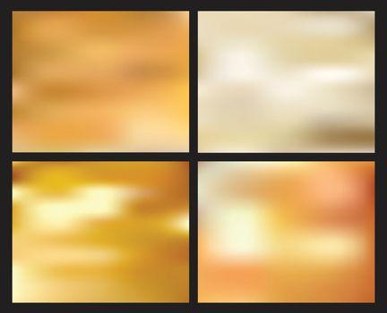Set of abstract golden blurred background. Creative concept elements for website, banner web, print, brochure, poster, etc. Vector illustration