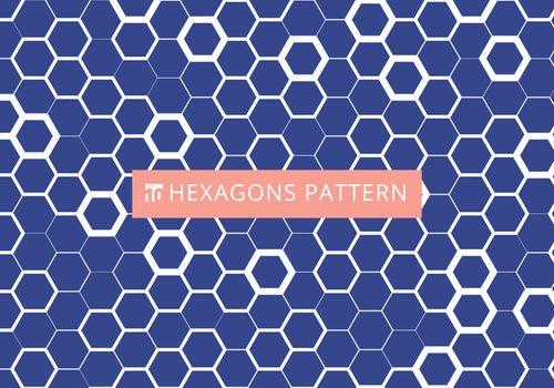 Abstract white hexagonal pattern on blue background. Honeycomb design. Chemistry hexagons modern stylish texture. Vector illustration