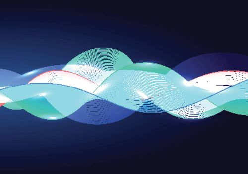 Abstract shiny color multi color wave design element and lighting effect on dark background. Vector illustration