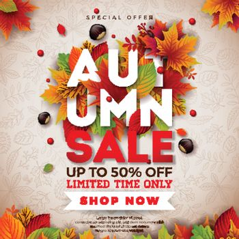 Autumn Sale Design with Falling Leaves, Chestnut and 3d Lettering on Doodle Pattern Background. Autumnal Vector Illustration with Special Offer Typography Elements for Coupon, Voucher, Banner, Flyer, Promotional Poster or Greeting Card