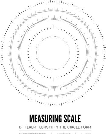 Measuring rulers of different scale, length and shape in the form of a circle. Vector illustration on white background