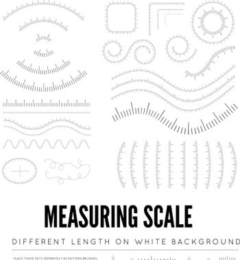 Measuring rulers of different scale, length and shape. Straight and curved shape. Vector illustration on white background