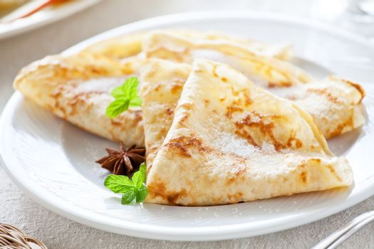 French Crepes With Sugar