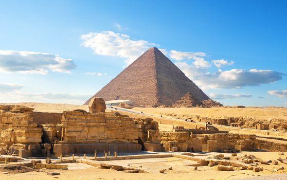 Egyptian pyramid in desert