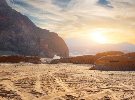 Rocks in sand deser