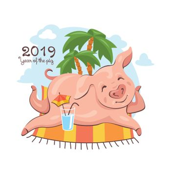 2019 New Year greeting card with cute pig, which enjoys a summer vacation. Vector illustration.