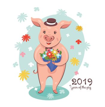 2019 New Year greeting card with cute pig with a bouquet of flowers. Vector illustration.