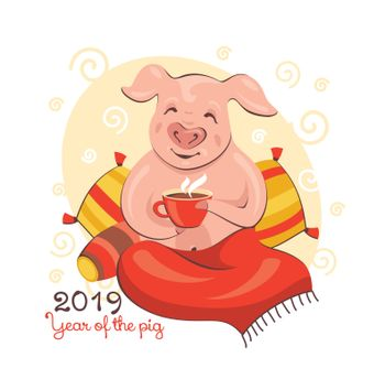2019 New Year greeting card with a pig enjoying morning coffee. Vector illustration.