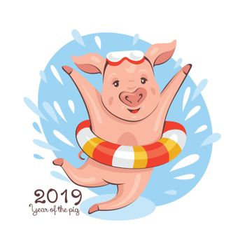 2019 New Year greeting card with a cute pig in a lifebuoy. Vector illustration.