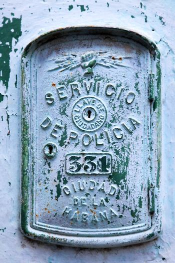 This image shows an emergency call box in Havana, Cuba