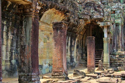 Temple ruins. Bayon Temple of Angkor Thom