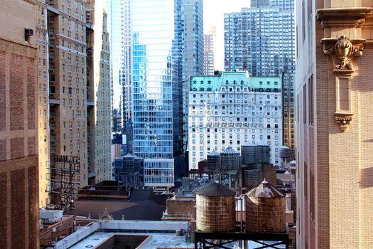 High buildings in New York. Manhattan