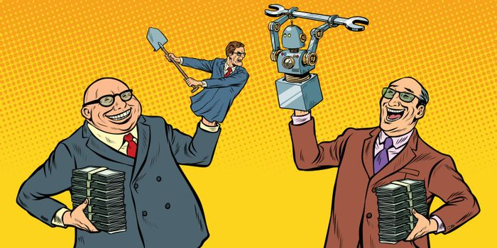 People against robots war for the workplace. Manipulation of politicians