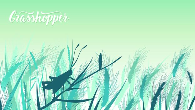 Beetle grasshopper sits on a blade of grass in the bushes illustration. Life of insects in the wild illustration. Beauty macro world design