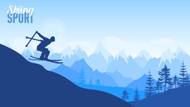 Alpine skiing competition illustration. Sport lifestyle for design concept. Skier slides from the mountain on background of mountains . Nature morning landscape background.